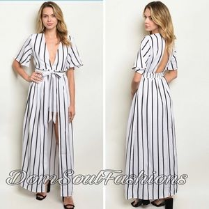 Dresses & Skirts - White Black Romper Wrap Maxi Skirt /Jumpsuit Dress